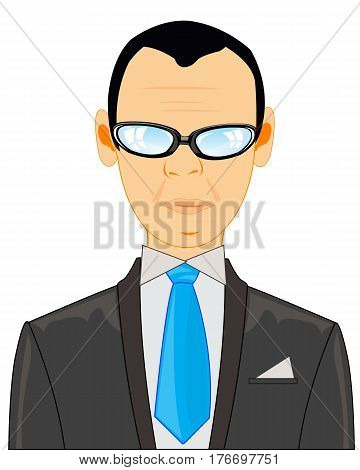 Portrait becoming bald men in suit with tie on white background