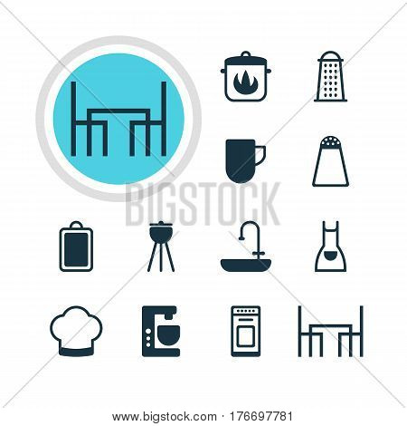 Vector Illustration Of 12 Restaurant Icons. Editable Pack Of Washstand, Mixer , Stewpot Elements.