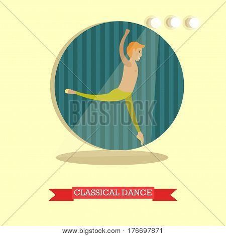 Classical dance concept vector illustration. Ballet dancer male performing on stage flat style design element.