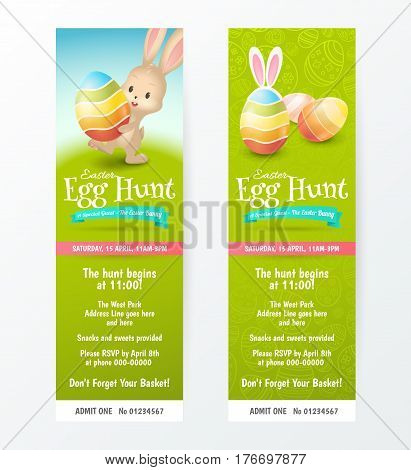 Set of tickets for Easter Egg Hunt with colored eggs and cute rabbit. Vector template for invitations and greeting cards design. Isolated from the background. File contains clipping mask.