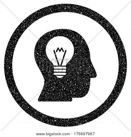 Rounded Intellect Bulb rubber seal stamp watermark. Icon symbol inside circle with grunge design and dirty texture. Unclean vector black emblem.