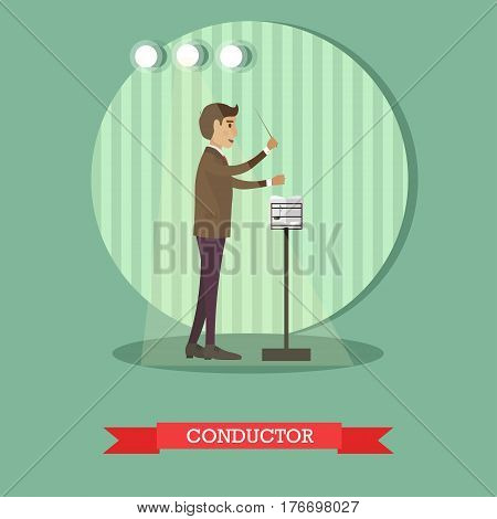 Vector illustration of young musician directing orchestral or choral concert. Musical conductor with baton and musical stand with musical notation. Flat style design.