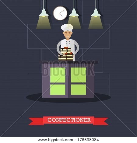 Vector illustration of confectioner and big cake with two tiers. Restaurant kitchen, bakery or candy store interior, flat style design elements.