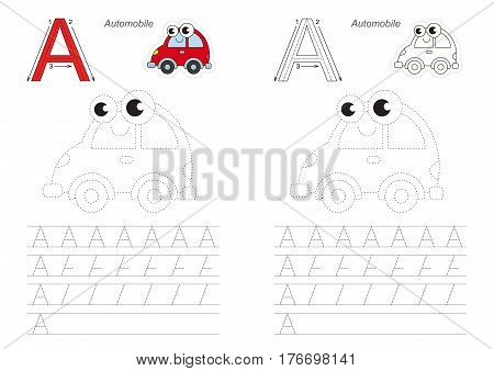 Vector illustrated worksheet. Learn handwriting. Gaming and education. Page to be traced. Easy educational kid game. Simple level. Complete eng alphabet. Tracing worksheet for letter A. Automobile.
