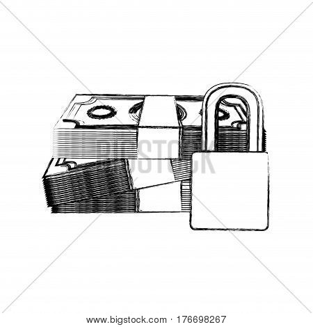monochrome sketch of bills and coins with padlock protection vector illustration