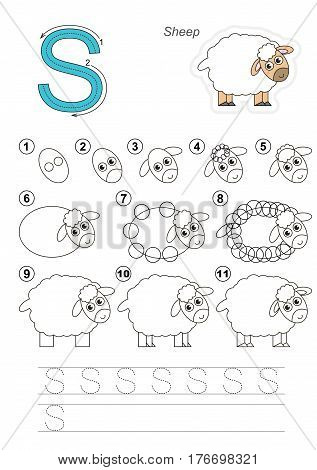Vector illustrated alphabet with kid educational games to learn handwriting, with easy game level for preschool children. Drawing tutorial for letter S. The funny sheep.
