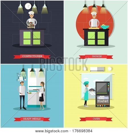 Vector set of cook posters, banners. Confectioner, Dough, Ready meals and Oven flat style design elements.