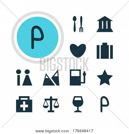 Vector Illustration Of 12 Check-In Icons. Editable Pack Of Wineglass, University, Toilet And Other Elements.