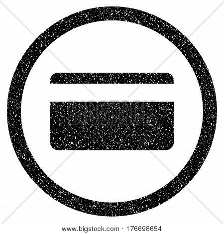 Rounded Plastic Card rubber seal stamp watermark. Icon symbol inside circle with grunge design and dirty texture. Unclean vector black sign.