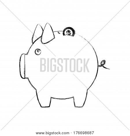 monochrome sketch of piggy bank vector illustration