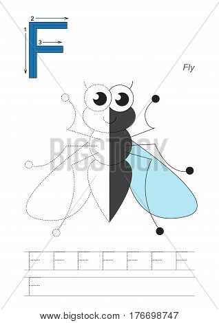 Vector exercise illustrated alphabet, kid gaming and education. Learn handwriting. Half trace game. Easy educational kid game. Tracing worksheet for letter F. Cute Fly.