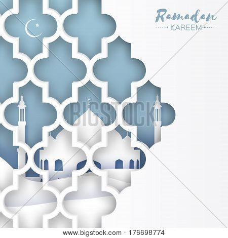Blue Mosque Window . Origami Ramadan Kareem Greeting card with arabic arabesque pattern. Holy month of muslim. Crescent Moon. Symbol of Islam. Applique Design Vector illustration.