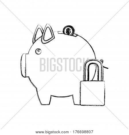 monochrome sketch of piggy bank with padlock vector illustration