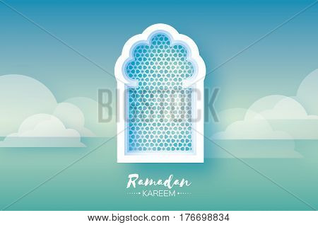 Blue Mosque Window . Origami Ramadan Kareem Greeting card. Arabic arabesque pattern. Paper cut cloud. Holy month of muslim. Crescent Moon. Symbol of Islam. Vector illustration.