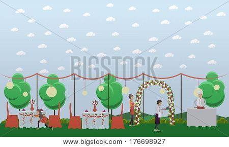 Vector illustration of young women decorating wedding tables and arch for outdoors wedding party. Chef and restaurant staff preparing food for wedding reception. Flat style design elements.
