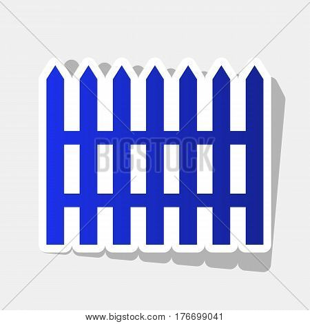 Fence simple sign. Vector. New year bluish icon with outside stroke and gray shadow on light gray background.