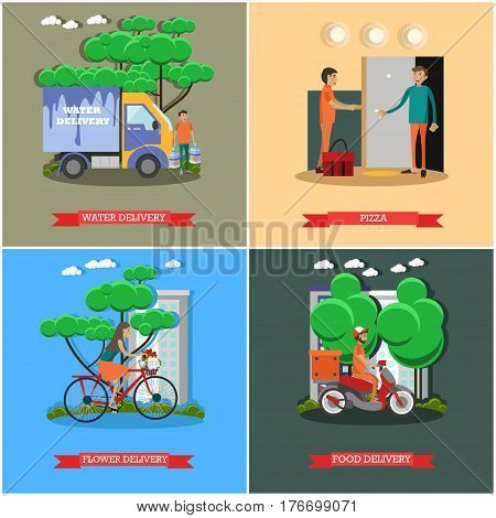 Vector set of delivery posters. Water delivery, Pizza, Flower delivery and Food delivery flat style design elements.