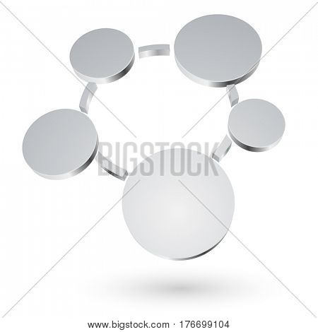 Abstract 3D metallic circles blank diagram isolated on white background. Raster copy.