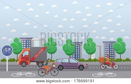 Vector set of food delivery posters, banners. Couriers delivering food, flower and parcels by bicycle, by truck and by motor scooter. City street. Flat style design.