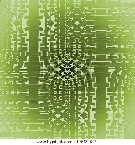 Abstract geometric seamless background single color. Regular mosaic pattern in light green shades and olive green centered.