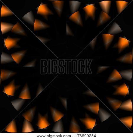 Abstract geometric seamless background. Regular pinwheel pattern in dark brown and black with orange elements shining.