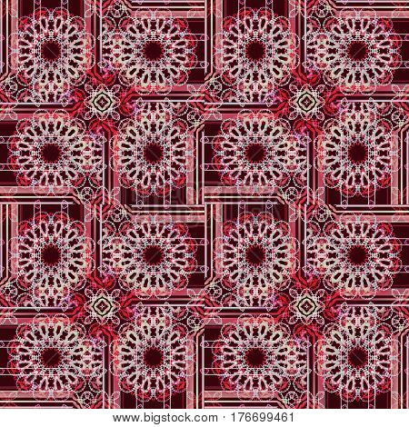 Abstract geometric seamless vintage background. Regular round blossoms and squares in pink, red and dark brown shades, ornate and dreamy.