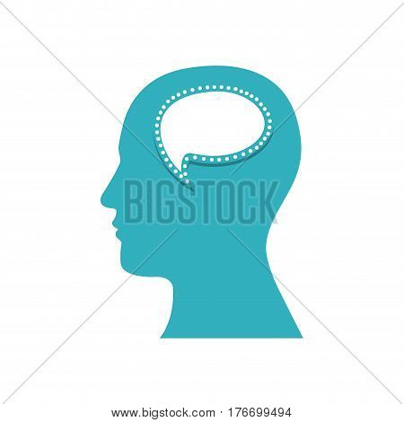 color silhouette of human face with bubble speech in mind vector illustration