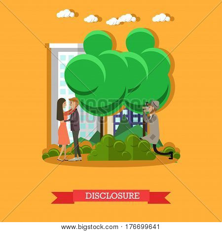 Vector illustration of detective observing young couple lovers closely and secretly and taking photos. Disclosure concept flat style design element.