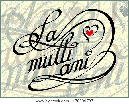 Romanian Happy Birthday Calligraphy Card - La Multi Ani