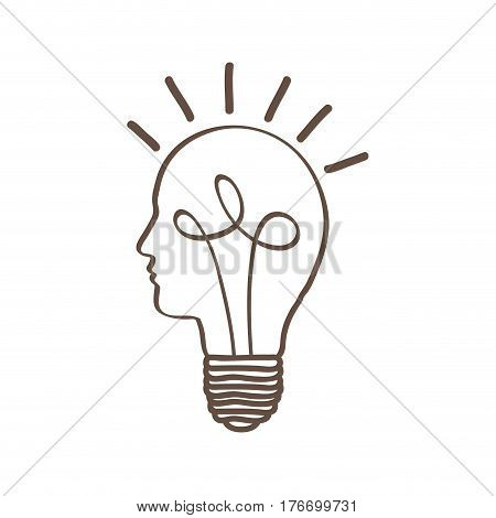 monochrome silhouette of light bulb with glass in shape of human face with spiral filament vector illustration
