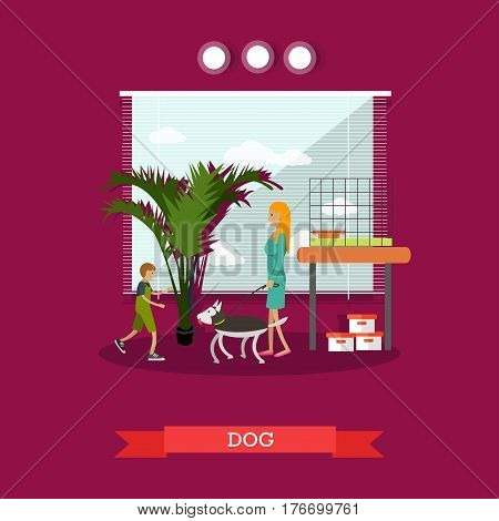 Vector illustration of woman buying a dog for her son. Pet shop interior, happy kid and happy mother flat style design elements.