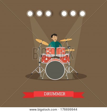 Vector illustration of young man playing drums. Drummer flat style design element.