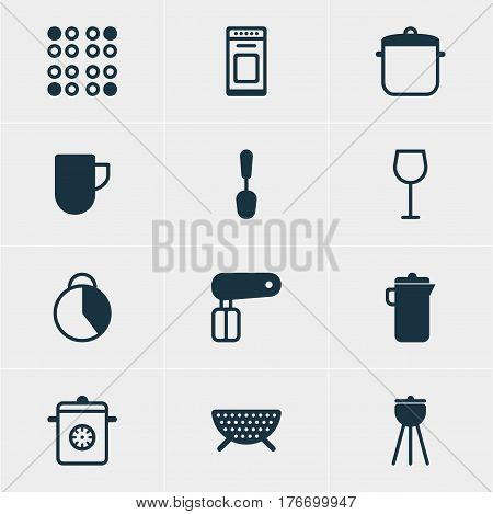Vector Illustration Of 12 Restaurant Icons. Editable Pack Of Cooker, Whisk, Tablespoon And Other Elements.