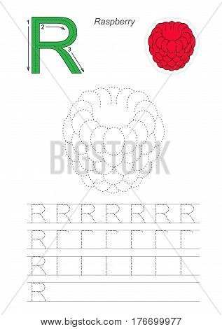 Vector illustrated worksheet to preschool children learn handwriting. Page to be traced for gaming and education with easy educational kid game level. Tracing worksheet for letter R. Raspberry.