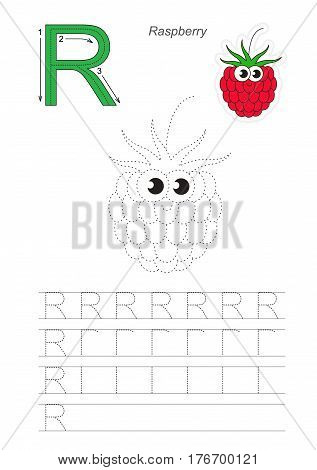Vector illustrated worksheet to preschool children learn handwriting, the page to be traced for gaming and education with easy educational kid game level. Tracing worksheet for letter R. Raspberry.