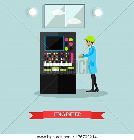 Vector illustration of factory engineer. Manufacturing engineer flat style design element.