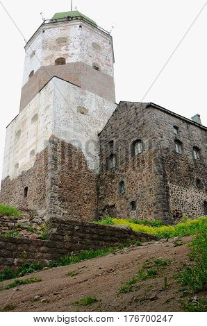 Vyborg Russia - June 10 2014: Vyborg Castle (Viipurin linna) a Swedish built medieval fortress around which the town of Viborg (today in Russia) evolved.