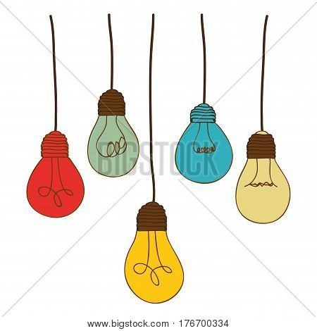 silhouette of set light bulbs pendant in several colors vector illustration