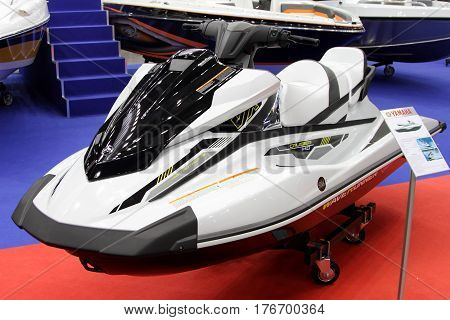 MOSCOW - MARCH 09 2017: Jet-ski Yamaha VH cruiser HO for 10 International boat show in Moscow. Russia.