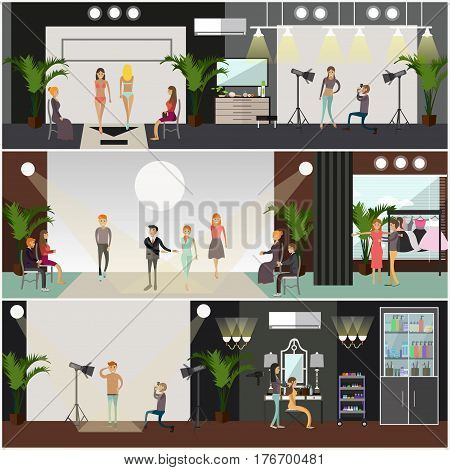 Vector set of fashion posters, banners. Models with fashion designer walking down catwalk to display clothing and swimsuits. Makeup artist, photographer, clothes stylist. Flat style design elements.