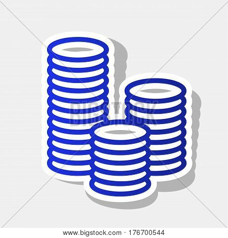 Money sign illustration. Vector. New year bluish icon with outside stroke and gray shadow on light gray background.