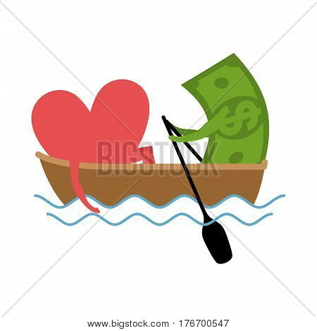 Love And Money Ride In Boat. Selling Love. Dollar And Heart