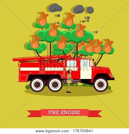 Vector illustration of fire engine. Fire truck and firefighter in fire protection suit and helmet design element in flat style.