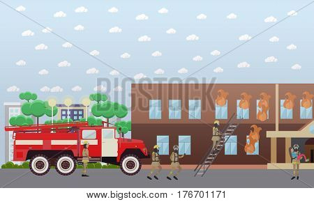 Vector illustration of firefighters in protective clothing and helmets extinguishing fire in the house. Fireman carrying out girl from burning building. Flat style design element.