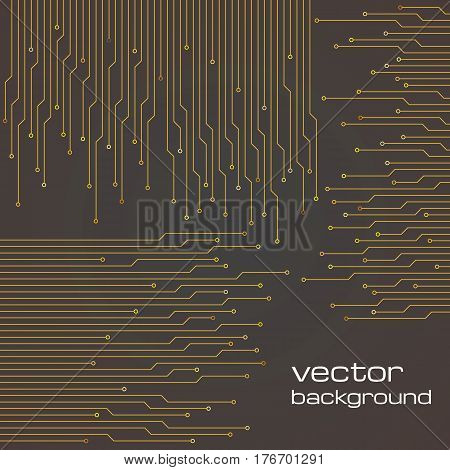 Abstract technological brown background with elements of the microchip. Circuit board background texture. Vector illustration.