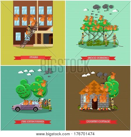 Vector set of fireman posters. Stairs, Wood burning, Fire extinguisher and Country cottage flat style design elements.