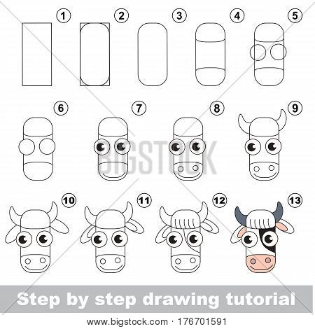 Vector kid educational game to develope drawing skill with easy game level preschool kids education. Drawing tutorial for Cow Head.