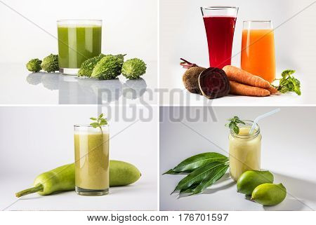 collage of health drink or juices like kairi or kaccha aam panha, karela juice, lauki juice, beat root and carrot jioce, isolated over white background