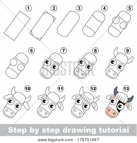 Kid education and gaming - the drawing tutorial for preschool children with easy educational kid game level, the funny drawing school. How to draw Cow head.