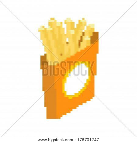 French Fries Pixel Art. Fast Food Pixelated. Fastfood Isolated